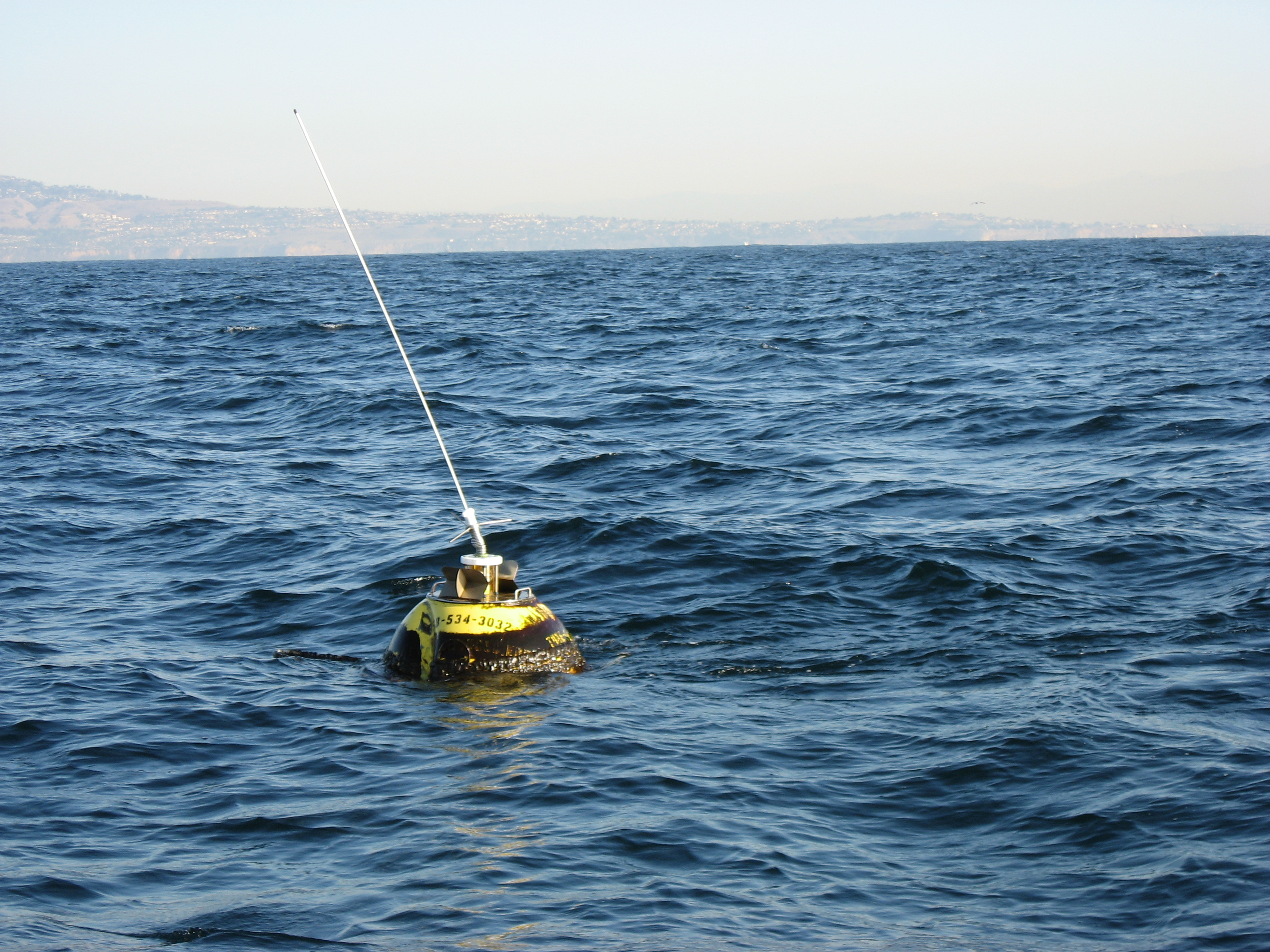 Buoy damaged from collision before pick-up
