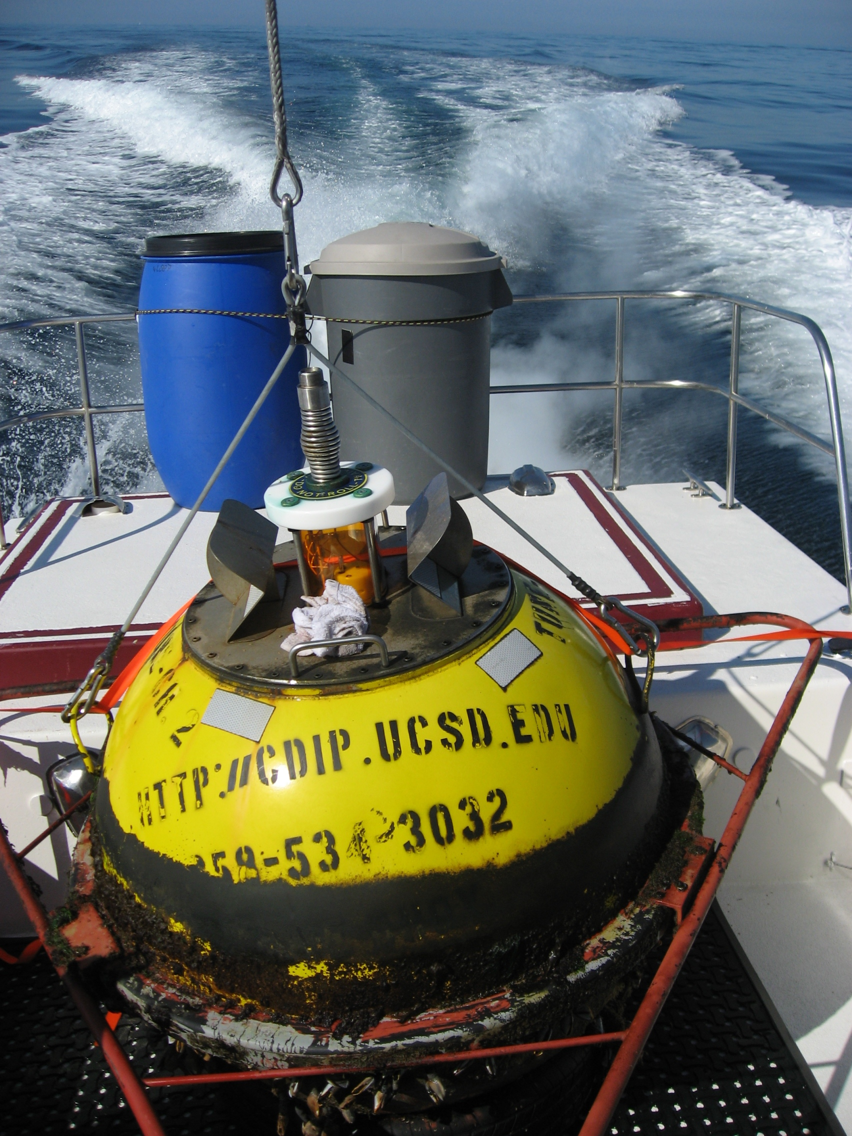 Old buoy aboard SeaDipper after successful swap