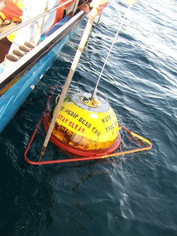 Buoy is recovered aboard the Hulicat out of Half Moon Bay, CA