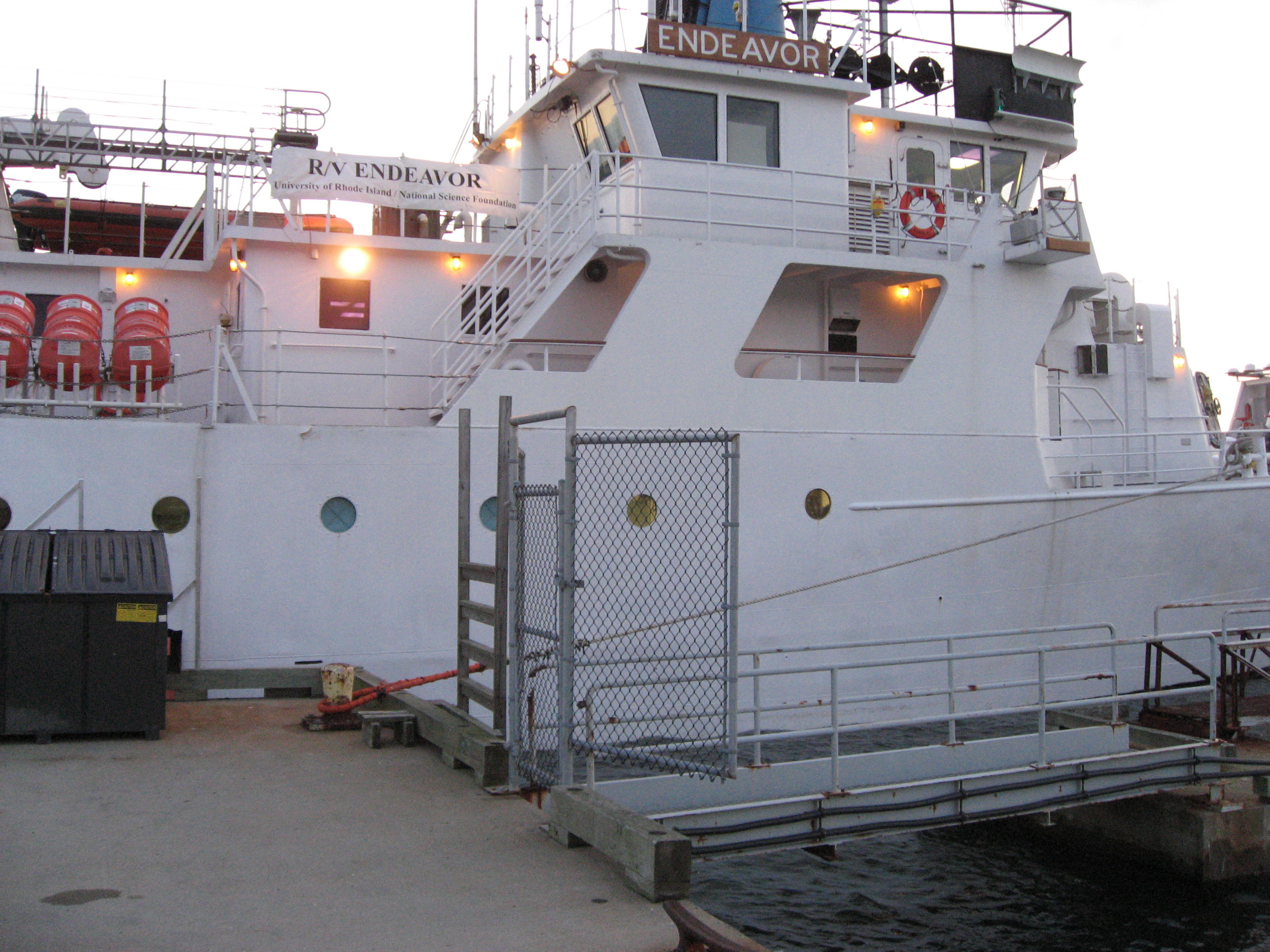 View of deployment vessel at dawn