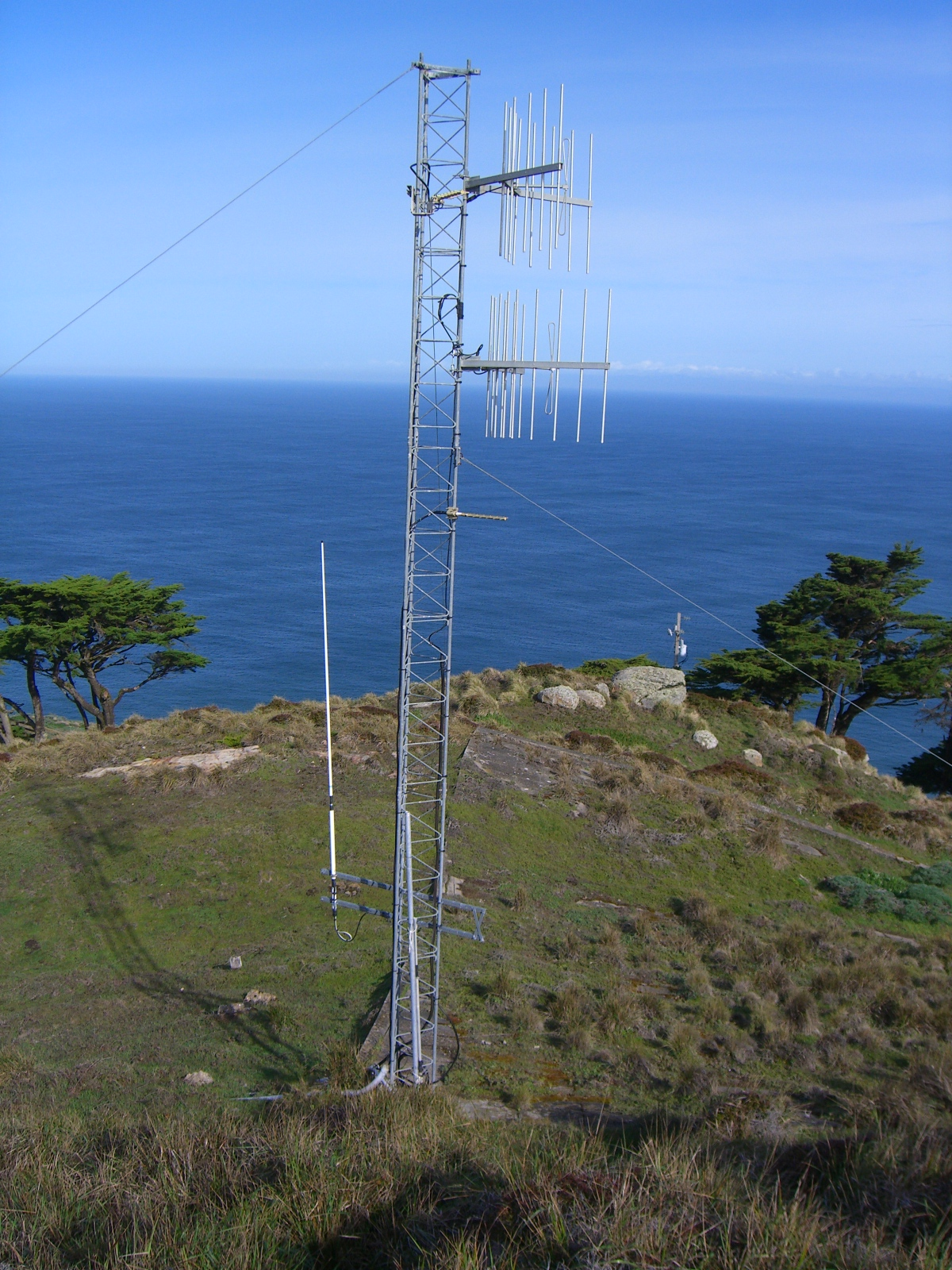 Shore station antenna at lower left