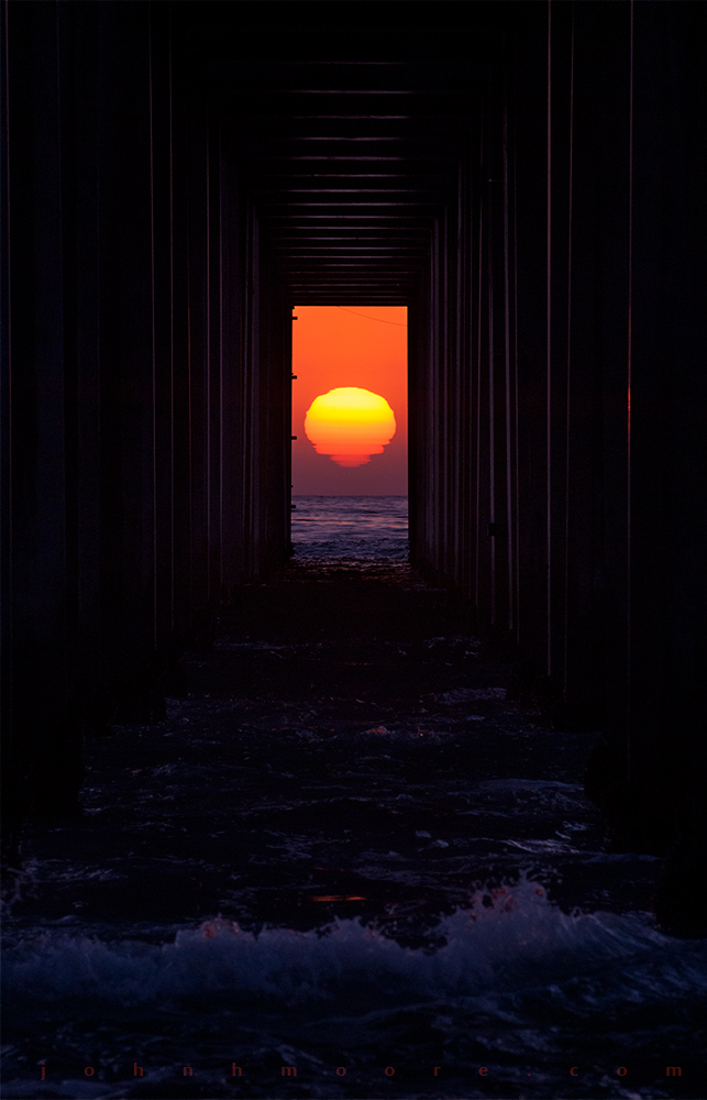 Sunset through Scripps Pier