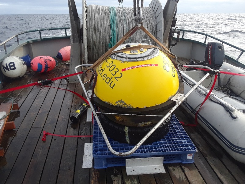 Buoy on deck prior to deployment