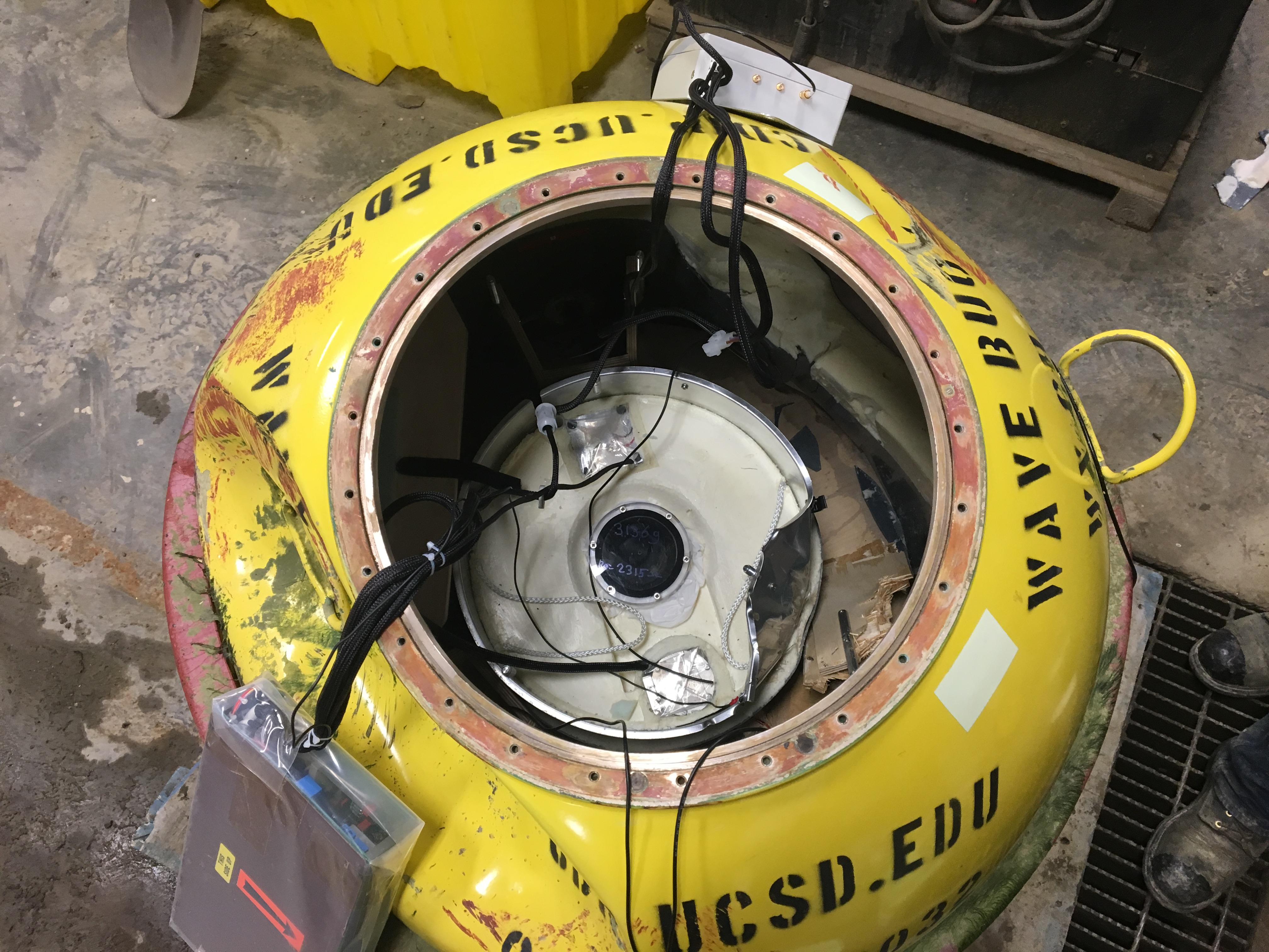 View into interior of damaged buoy without tophat